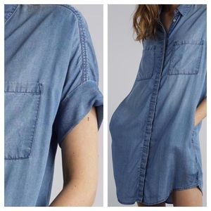 Thread & Supply Chambray Midi Short Sleeve Dress L